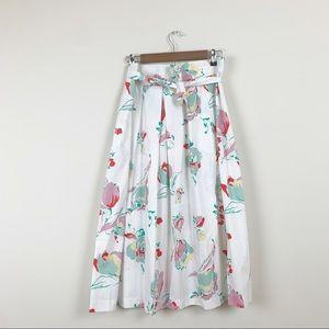 Vintage 70s Floral A Line Tie Waist Midi Skirt 10
